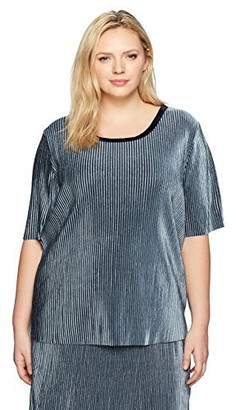 Junarose Women's Plus Size Short Sleeve Velvet Top