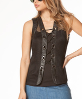 Black Lace-Up Mesh Vest