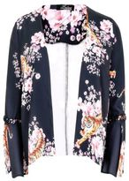 Yours Clothing Yoursclothing Plus Size Womens Tiger Floral Print Crop Jacket Flute Sleeves