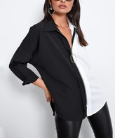 Angele Mode Women's Blouses Black-White - Black & White Zip-Front Top - Women