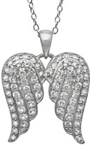 Sterling Silver Lab-Created White Sapphire Angel Wing Pendant