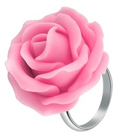 Hand Made Pink Rose Sterling Silver Fashion Ring
