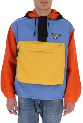 Prada Pocket Detail Colour Block Hoodie