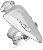 Kendra Scott Sally Rhodium Metal White Cubic Zirconia Ring, Size 5-7