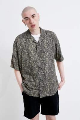 Urban Renewal Vintage Inspired By Vintage Black Paisley Print Shirt - black S at Urban Outfitters