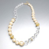 Pearl and clear bead gold cage necklace