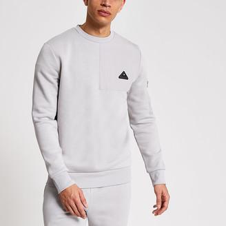 River Island MCMLX grey nylon panel slim fit sweatshirt