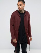Asos Knitted Parka in Burgundy Twist