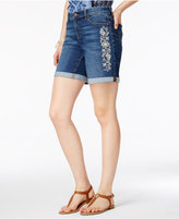 Style&Co. Style & Co Petite Embroidered Cuffed Denim Shorts, Created for Macy's