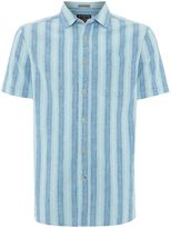 Howick Men's Hendon Ombre Short Sleeved Stripe Linen Shirt
