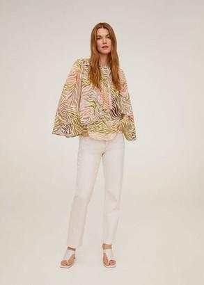 MANGO Flowy printed blouse ecru - 4 - Women