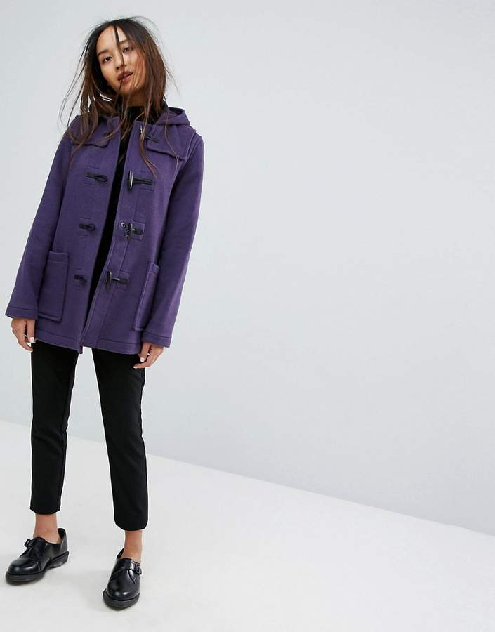 Gloverall Fitted Pannelled Wool Blend Duffle Coat