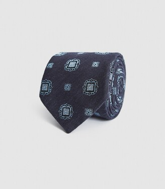 Reiss Marco - Silk Blend Medallion Tie in Navy/ Soft Blue