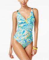 Lauren Ralph Lauren Carnivale Paisley Surplice Underwire One-Piece Swimsuit