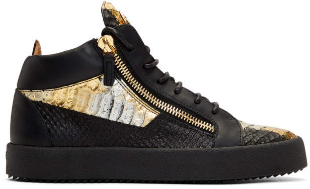 Giuseppe Zanotti Black and Gold May London Kokis High-Top Sneakers