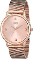 GUESS GUESS? Men's U0280G2 Dressy Rose Gold-Tone Watch with Plain Rose Gold Dial and Mesh Deployment Buckle