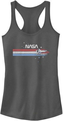 Licensed Character Juniors' NASA Red White And Blue Banner Logo Tank Top
