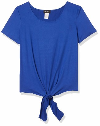 Star Vixen Women's Short Sleeve Classic Tiefront Brushed Knit Top