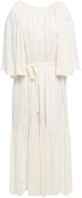 Mother of Pearl Lilian Gathered Crinkled Satin-jacquard Midi Dress