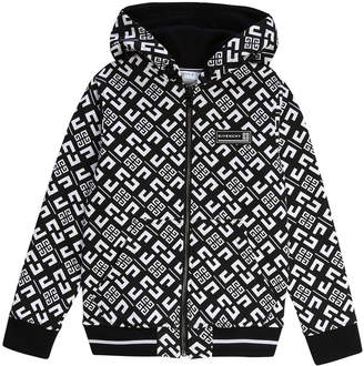 Givenchy Boy's 4-G Print Mini Me Hooded Zip-Front Cardigan, Size 4