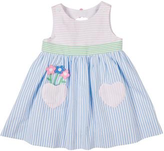 Florence Eiseman Girl's Striped Floral Heart Pocket Dress, Size 2-4T