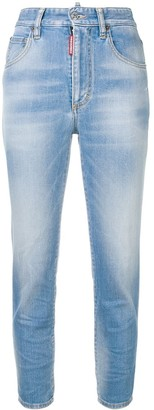 DSQUARED2 High Waist Cropped Twiggy Jeans