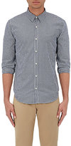 Barneys New York Men's Gingham Cotton Jacquard Shirt-NAVY, WHITE