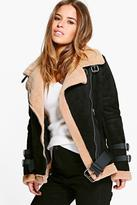 Boohoo Petite Josie Fur Lined Aviator Jacket black