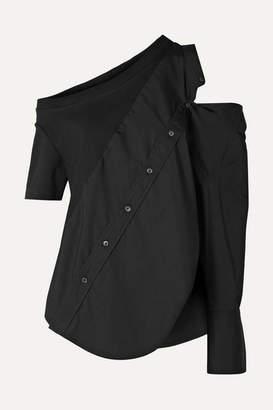 Monse Cold-shoulder Cotton-blend Jersey And Poplin Top - Black