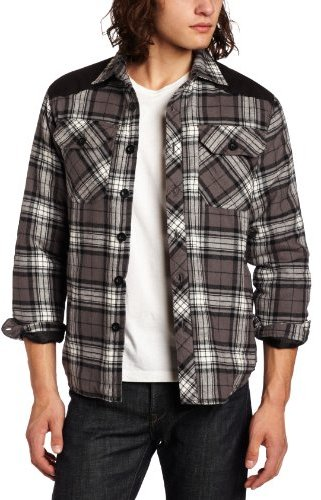 Southpole Men's Flannel Plaid Button Down Worker Jacket with Twill Trim Detail