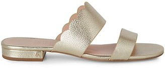 Kate Spade Fetty Flat Scallop Metallic Leather Sandals