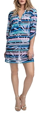 Gottex Palm Beach Shirt Dress Swim Cover-Up