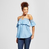 3Hearts Women's Chambray Embroidered Smocked Ruffle Off the Shoulder Top - 3Hearts (Juniors') Blue