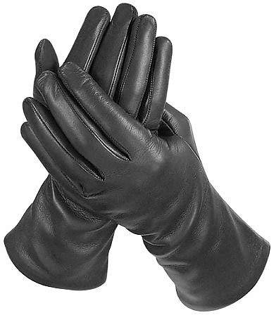 Forzieri Women's Cashmere Lined Black Italian Leather Long Gloves