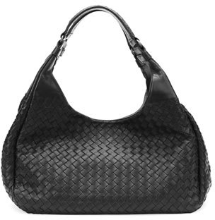 Bottega Veneta Medium Woven Napa Hobo Bag, Black
