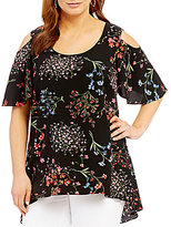 Peter Nygard Plus Cold Shoulder Printed Top