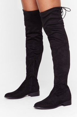Nasty Gal Womens Flatter Me Faux Suede Over-the-Knee Boots - black - 3
