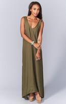 MUMU Kiersten Maxi Dress ~ Olive Silky Satin