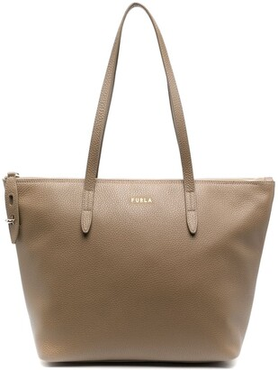 Furla Zip-Up Leather Tote Bag