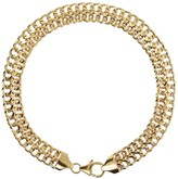 "Italian Gold 7-1/4"" Diamond Cut Woven Bracelet, 14K Gold"