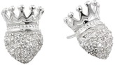 King Baby Studio Crowned Heart Post Earring Pave Cz Earring