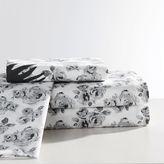 The Emily + Meritt Petit Rose Sheet Set, XL Twin, Black/Ivory