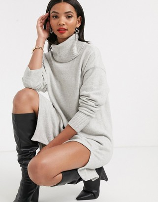 And other stories & rollneck sweater dress in grey melange