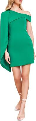 Lavish Alice One-Shoulder Half Cape Minidress