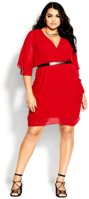 City Chic Colour Wrap Dress - lipstick