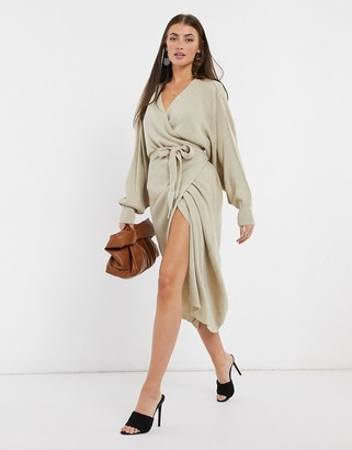 Pretty Lavish wrap knit dress with tie waist in beige