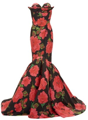 Richard Quinn Rose-print Mermaid-hem Satin Gown - Red Print