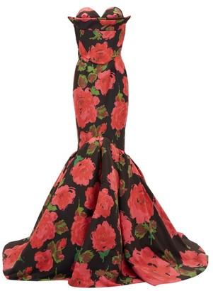 Richard Quinn Rose-print Mermaid-hem Satin Gown - Womens - Red Print