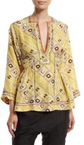 Isabel Marant 3/4-Sleeve Embroidered Tunic Blouse, Light Yellow