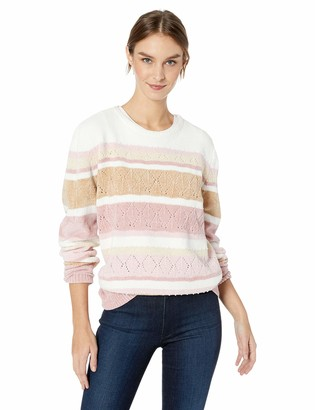 Alfred Dunner Women's Chenille Stripe Sweater with Studded Embellishment